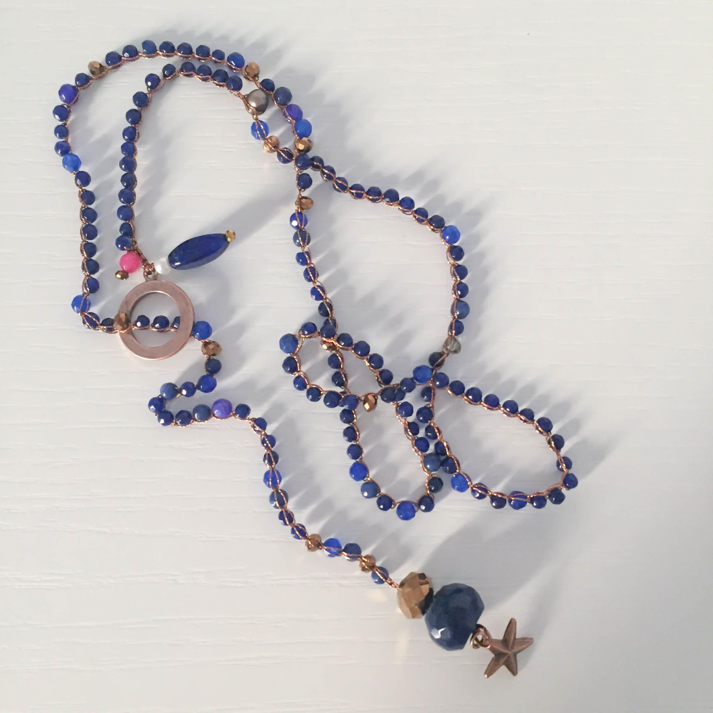 Favoloso Collana in filo rame lavorato all'uncinetto con pietre dure blu e  ZH75