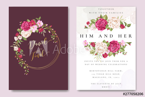 Beautiful Wedding Invitation Card With Elegant Floral And Leaves Template Buy This Stock Vector And Explore Similar Vectors At Adobe Stoc Desain Grafis Grafis