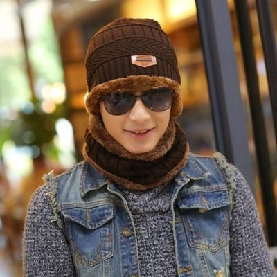 d23f3c315b0d5 2017 Winter Beanie Women Men Fashion Solid Fur Wool Lining Thick Warm Knit  Winter Hat Cap Scarf Skullies Bonnet Scarf
