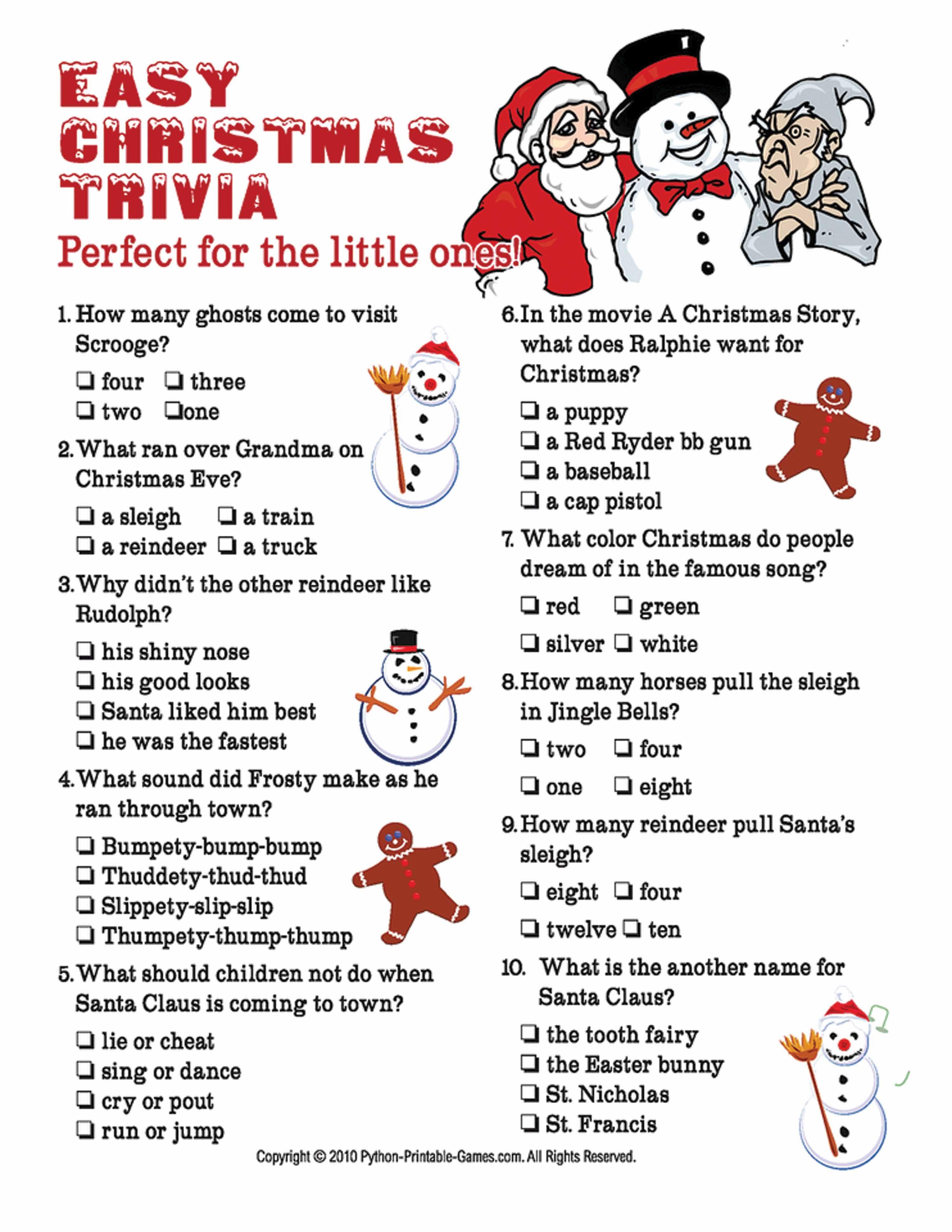 christmas trivia quiz Printable christmas games