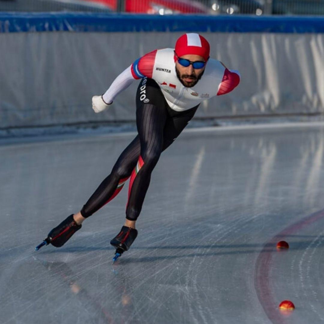 India's Ice Speed Skater Vishwaraj Jadeja showed his charm