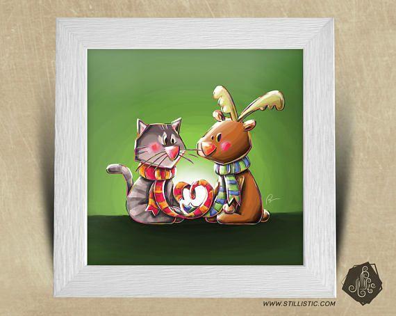 Cadre carré 25x25 cadeau Noël avec Illustration Chaton et
