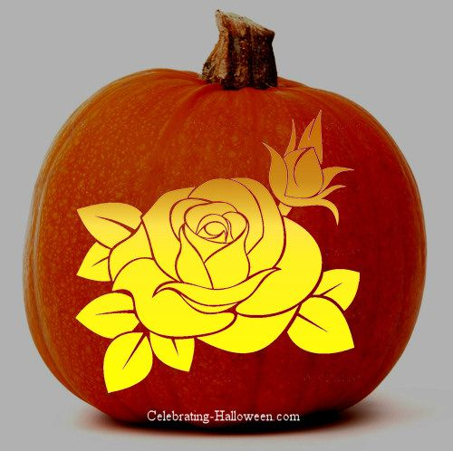 Rose pumpkin carving stencil artistic