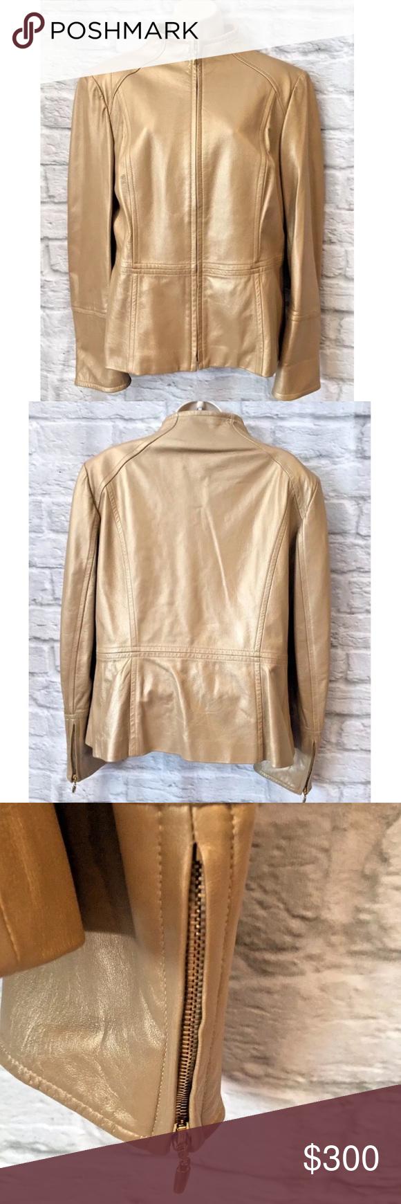 St John Sz L Gold Lamb Leather Moto Zipper Jacket St John Women S Supple Gold Lambs Leather Moto Zip Jacket With Gold Zipp Zipper Jacket Clothes Design Jackets [ 1740 x 580 Pixel ]
