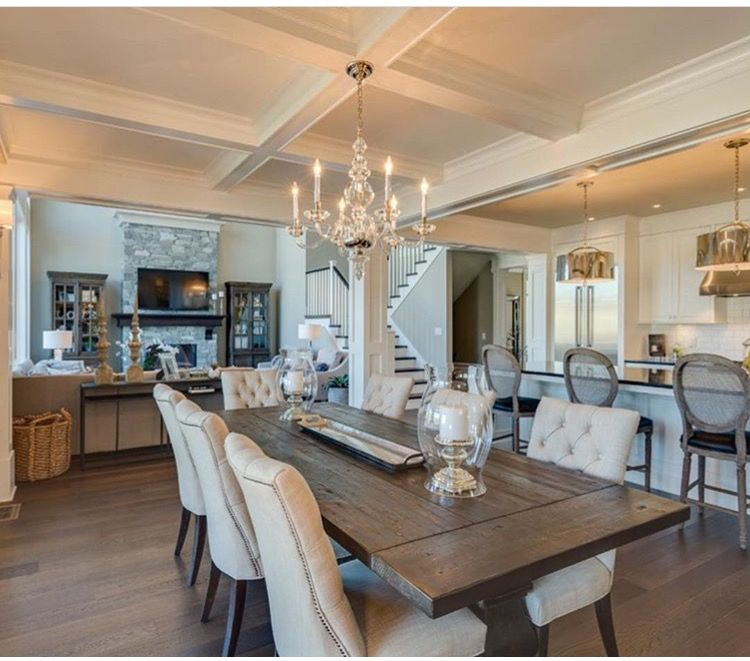Lovely This White Contemporary Dining Room Has An Elegant Coffered Ceiling And Plush  Dining Chairs That Are Paired With A Rustic Hardwood Dining Table For A ...