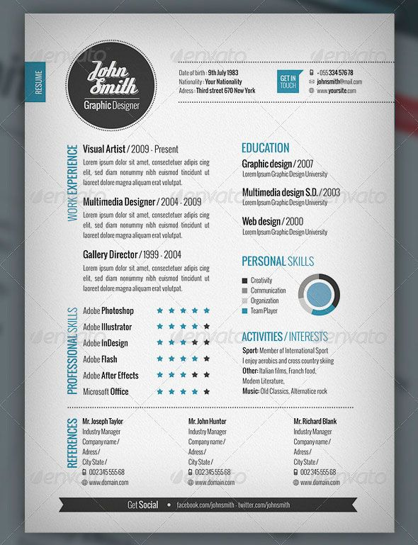 plantilla cv and cover letter  u00b7 adobe photoshop e