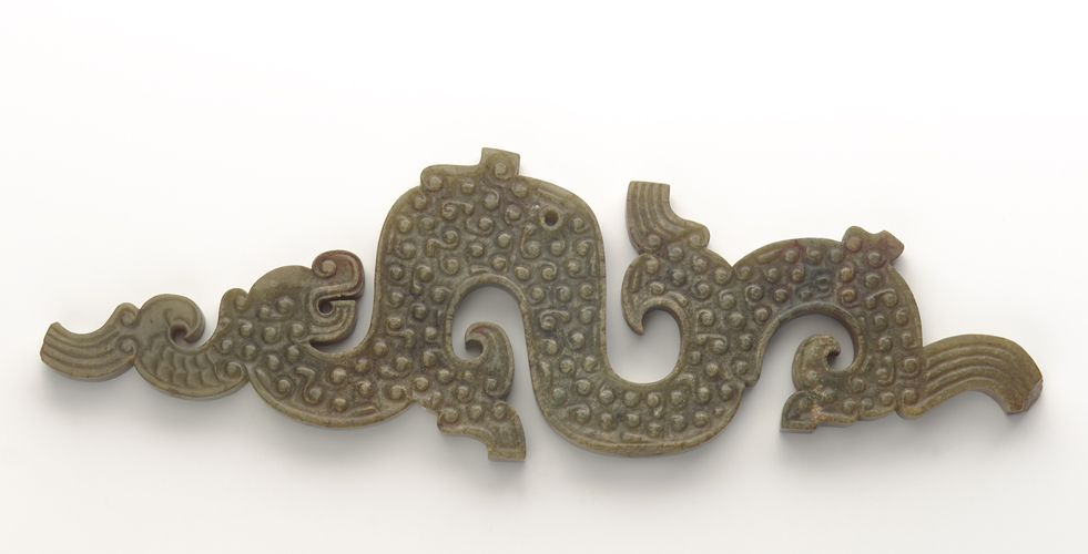 Pendant (pei) in the form of a dragon, 5th-4th century B.C.E. Eastern Zhou dynasty - Jade. Liulage, Henan province, China