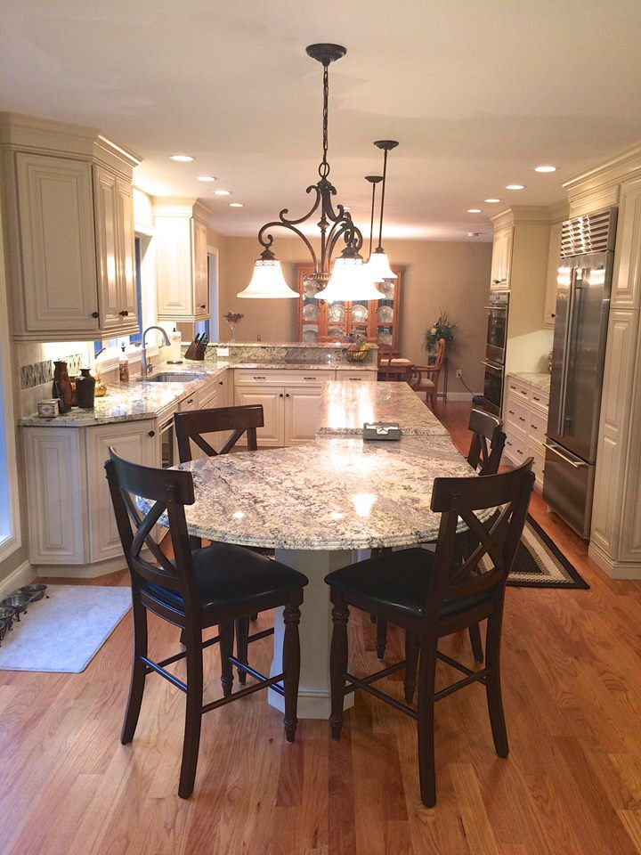 Dynasty Artesia Alma Caramel Cabinetry We Dropped The Height Of The Granite Down Slightly To Make Kitchen Remodel Small Kitchen Layout Kitchen Island Table