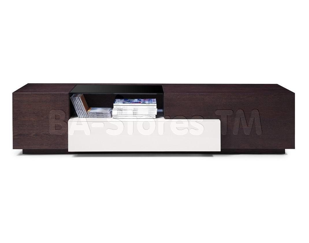 Modern Tv015 Tv Stand In Brown Oak Grey Lacquer By J M Tv  # Meuble Tv Fabio