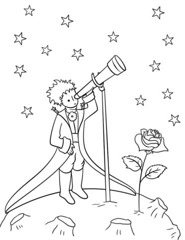 Little Prince With Telescope Coloring Page Boyama Sayfalari Cizimler Soyut Cizimler
