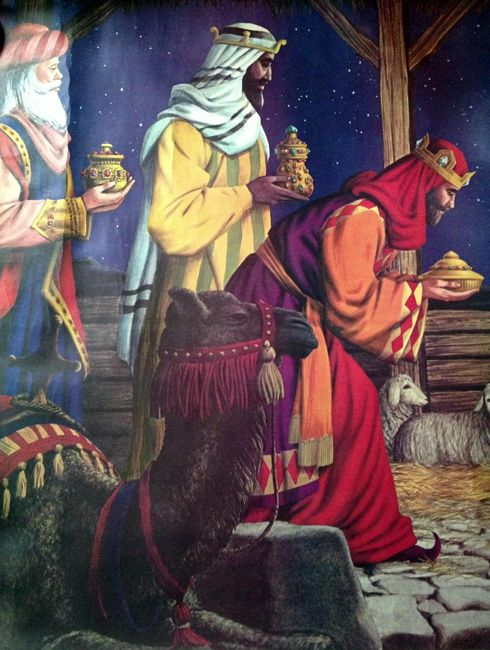 Christmas Lithograph. Three Wise Men.