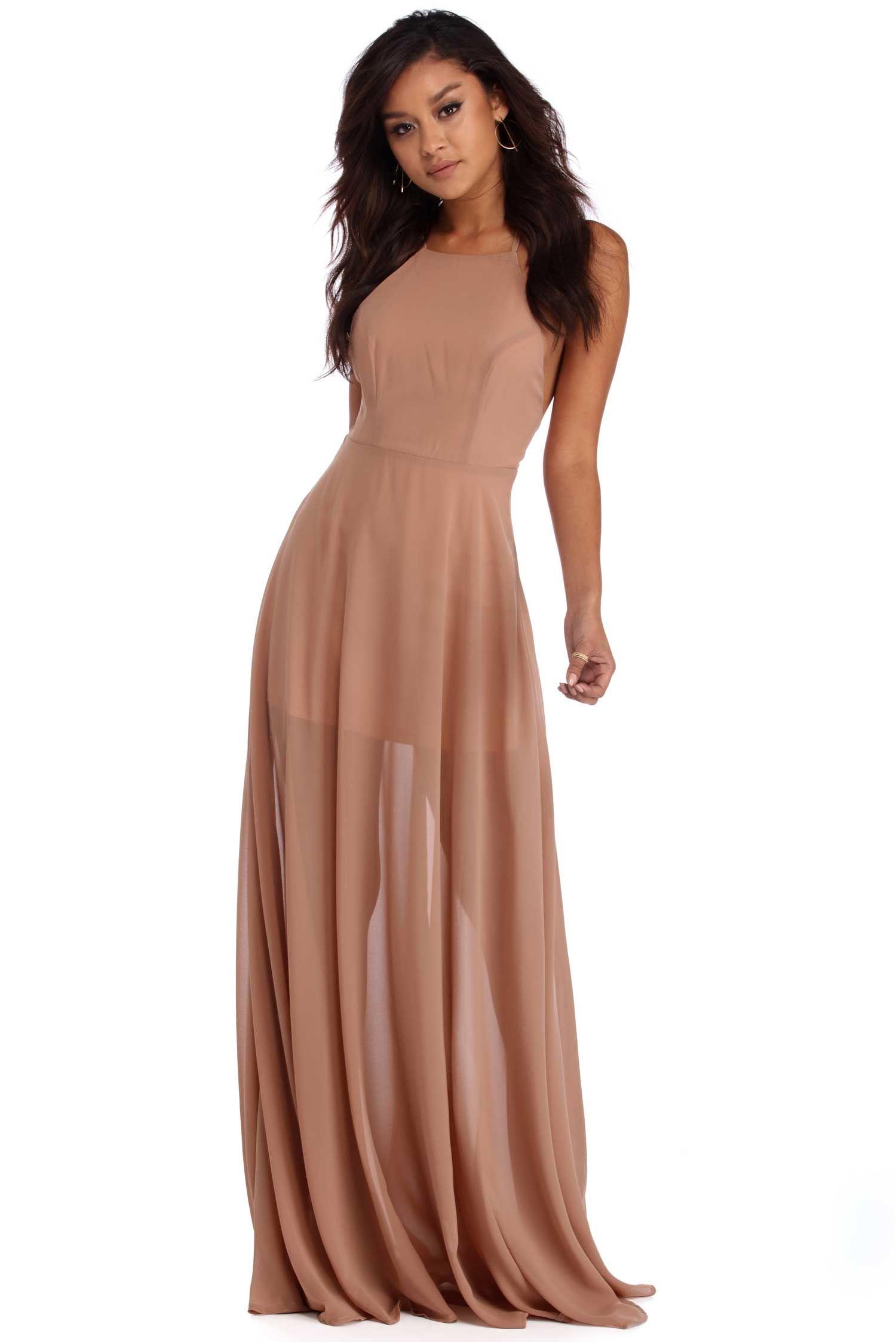 Olivia Taupe Sleeveless Chiffon Dress | windsor | Wedding Bells ...