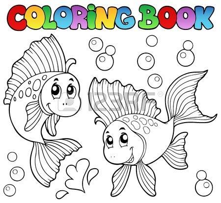 Coloring Book dos peces de colores lindos ilustraci n vectorial Foto ...