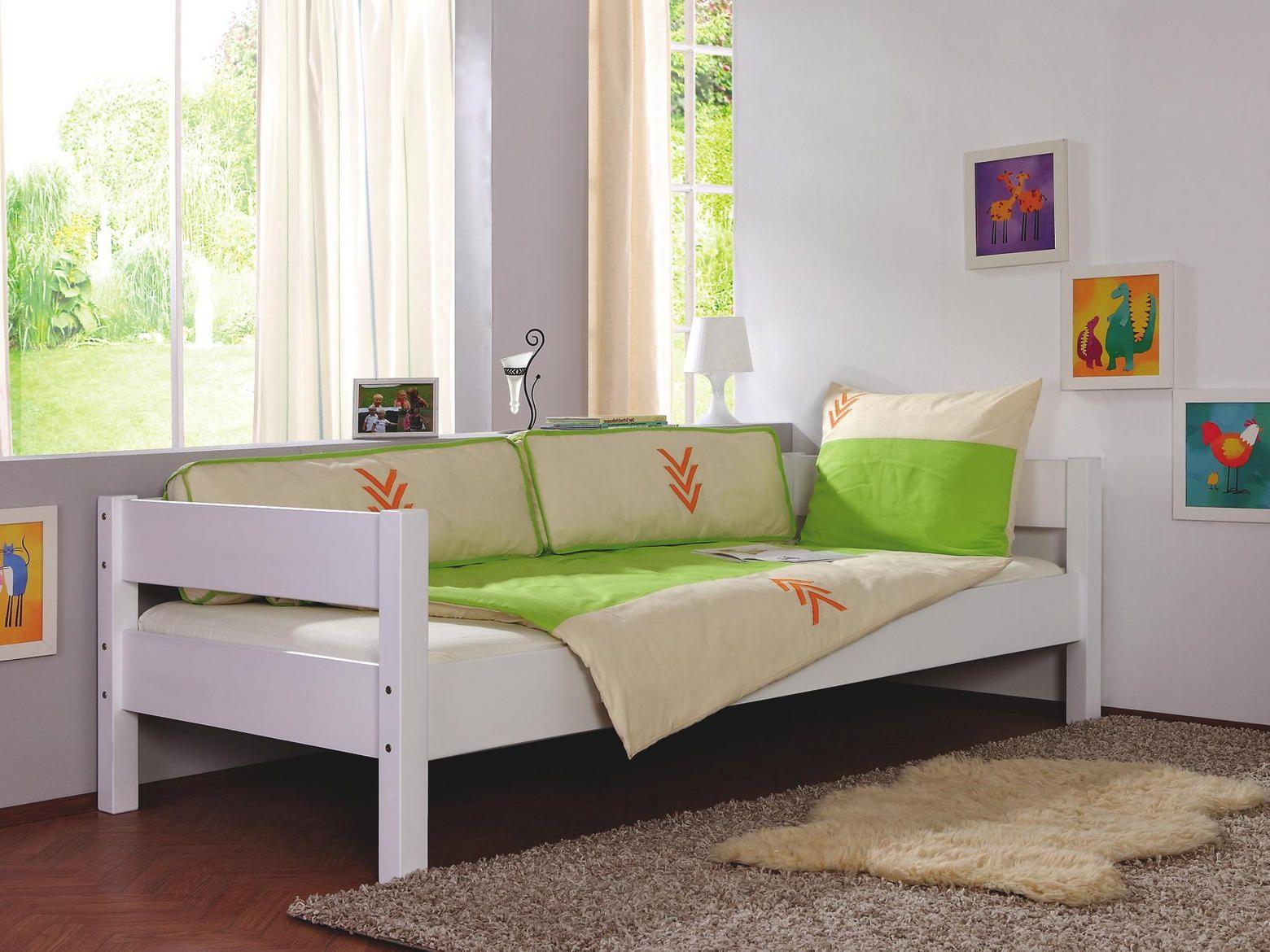 KINDER/JUNIORBETT Buche massiv Weiß Bett 90x200