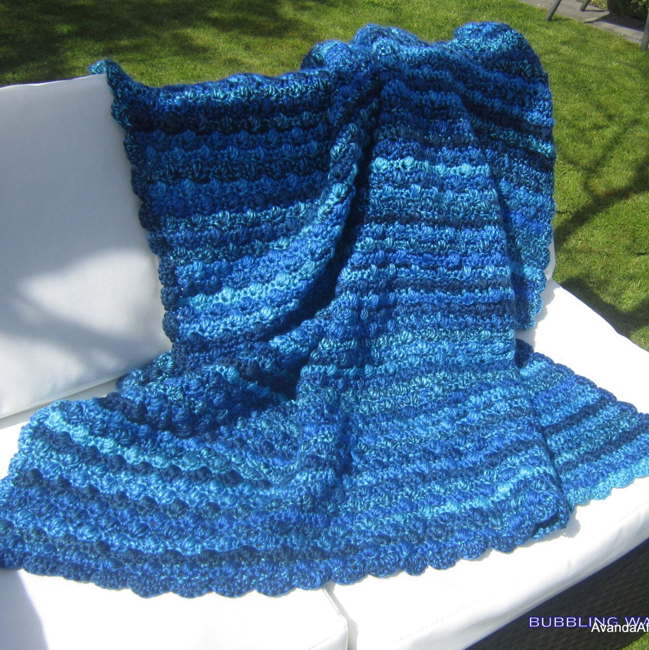 Afghan throw or baby blanket bubbling water crocheted