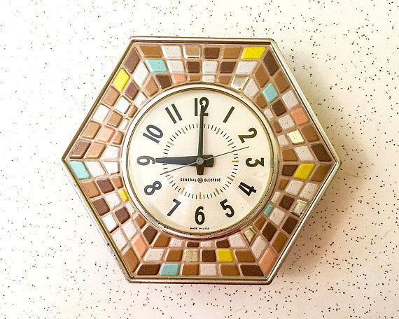 Vintage GE Kitchen Wall Clock, Mosaic Design, General