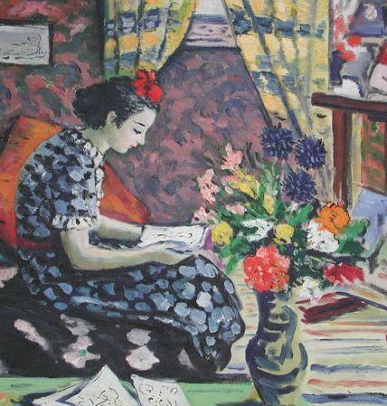 Girl Reading, (detail), 1938. Albert Bertalan (1899-1957).