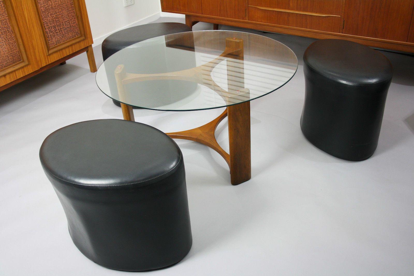 MID Century TH Brown Coffee Table Stools Retro Vintage Teak Fondue Danish  ERA, VIC  