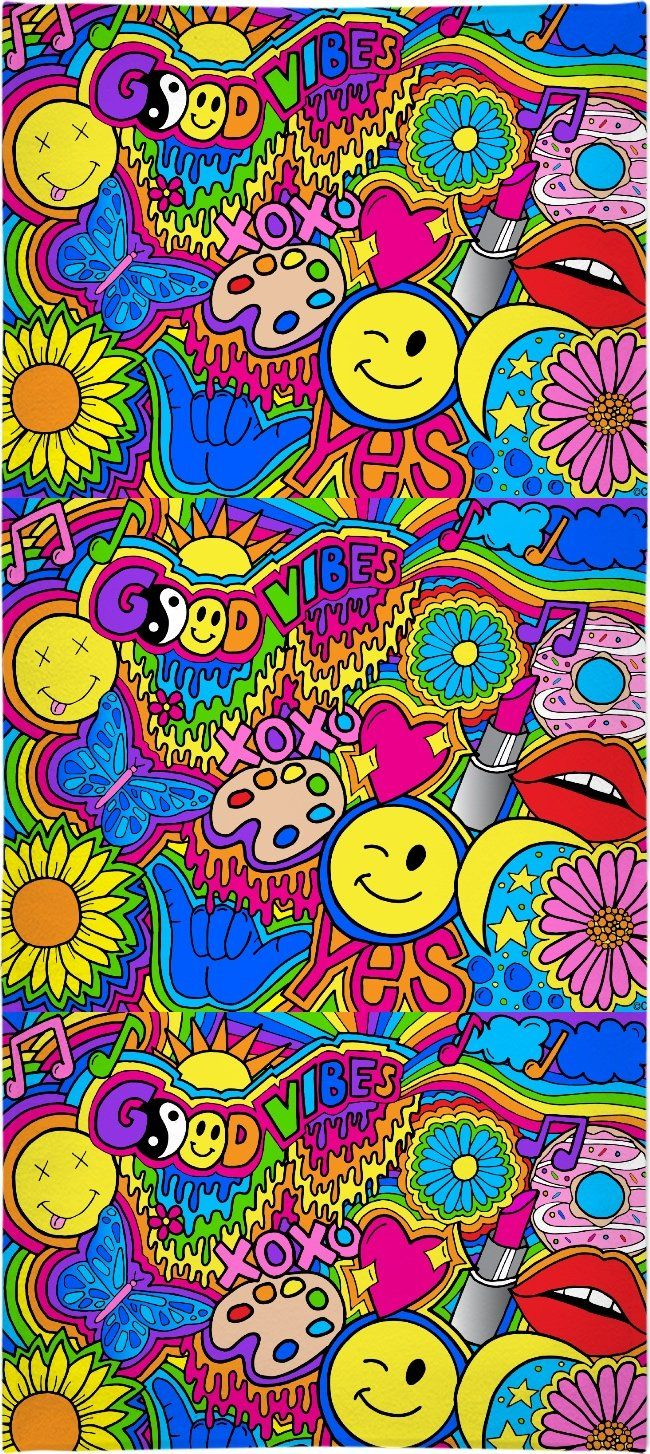 Hippie Vibes Beach Towel Hippie Wallpaper Trippy Wallpaper
