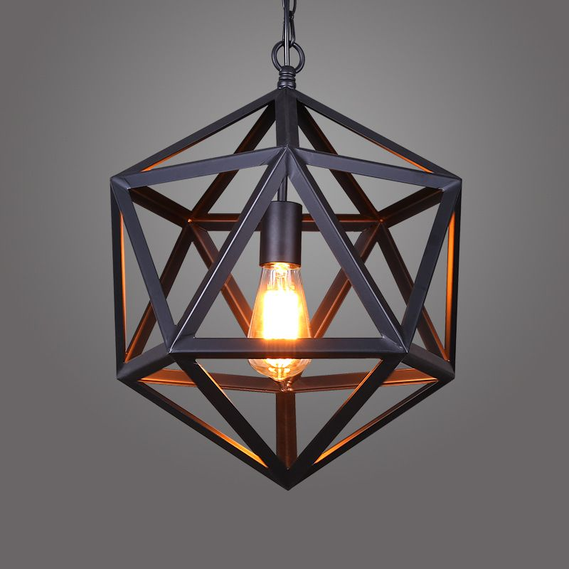 Retro industrial american country style wrought iron chandelier retro industrial american country style wrought iron chandelier creative personality polyhedral diamond chandelier engineering l aloadofball Image collections