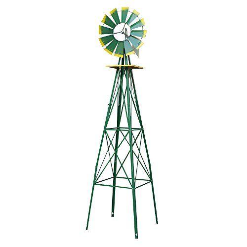 8 Ornametal Steel Windmill Yard Garden Wind Mill Weather Vane