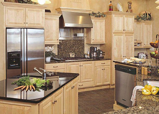 maple cabinets with tile floors - Google Search   Maple ... on Natural Maple Kitchen Backsplash Ideas With Maple Cabinets  id=95277