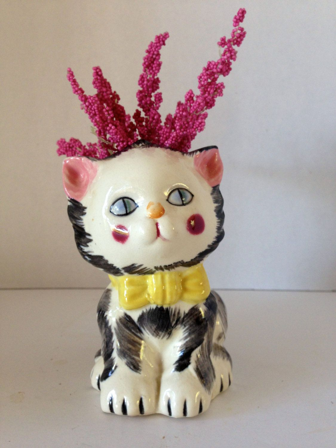 Vintage Ceramic Kitty Cat Planter with Pink Rosey Cheeks by LemonlyPink on Etsy