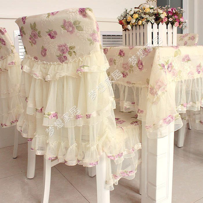 Rose Tablecloth Dining Chair Cover Cushion Combination Set