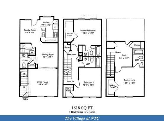 Naval Complex San Diego The Village At Ntc Neighborhood 3 Bedroom 3 5 Bathroom Townhome Floor Plan 16 Military Housing Floor Plans Lincoln Military Housing