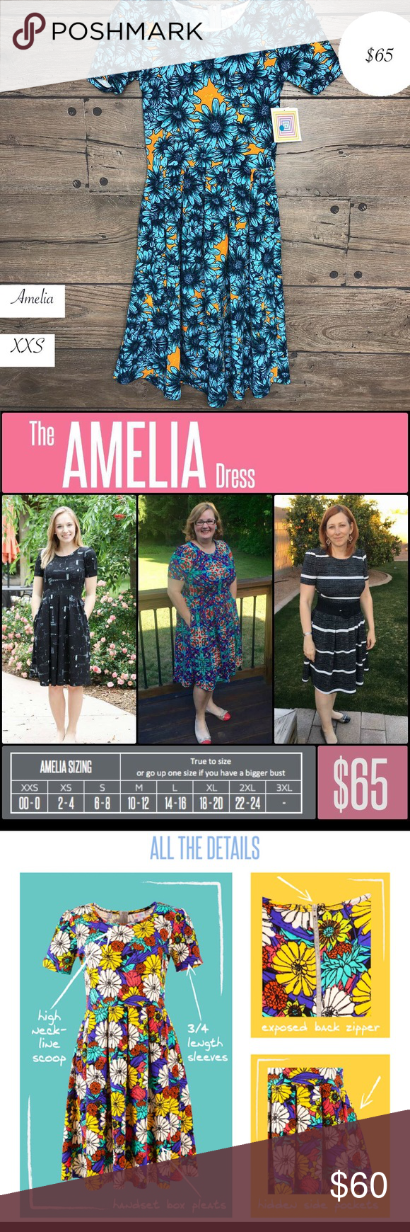 237dc6c5612bd LuLaRoe Amelia dress sunflowers New With Tags The Amelia Dress stretchy  knit fabric is comfortable enough to let you wear the dress all day, while  having ...