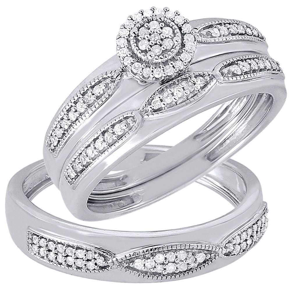 Diamond Trio Set His Hers Bridal Engagement Ring Wedding
