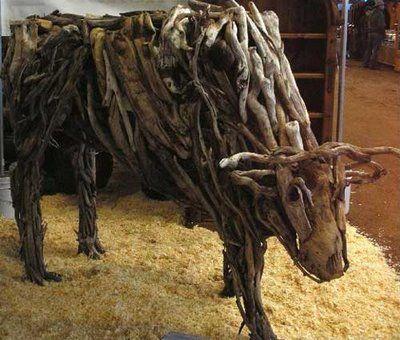 dit is een dier gemaakt van heel natuurlijk materiaal.