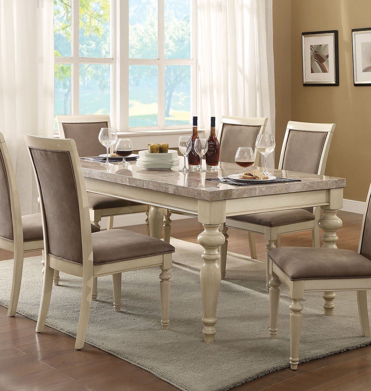 Acme 71705 Ryder Antique White Marble Top Dining Table Marble Top Dining Table Granite Dining Table Dining Table Marble
