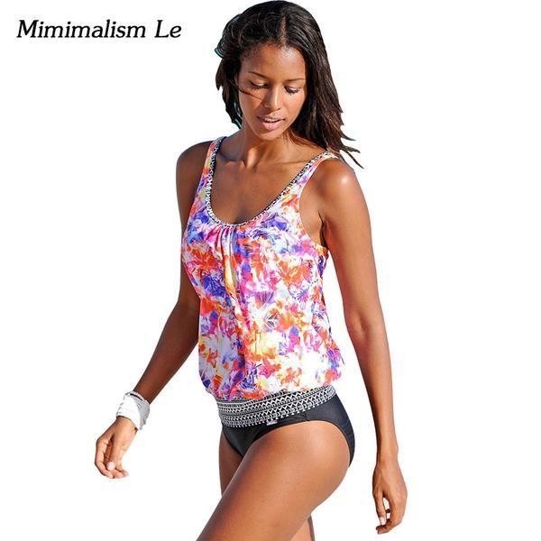 6cb5a177f78 Retro Patchwork Swimwear Women Swimsuit Push Up Plus Size Bikini ...