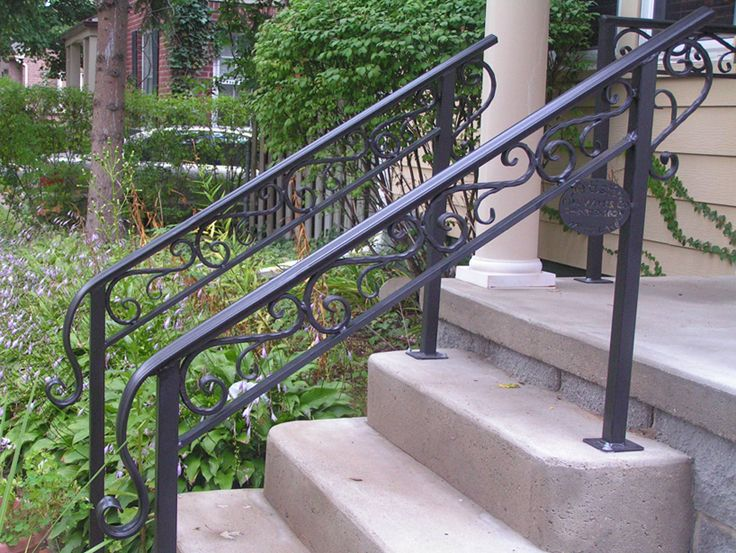 Wrought iron outdoor hand railings with columns - Metal railings for stairs exterior ...
