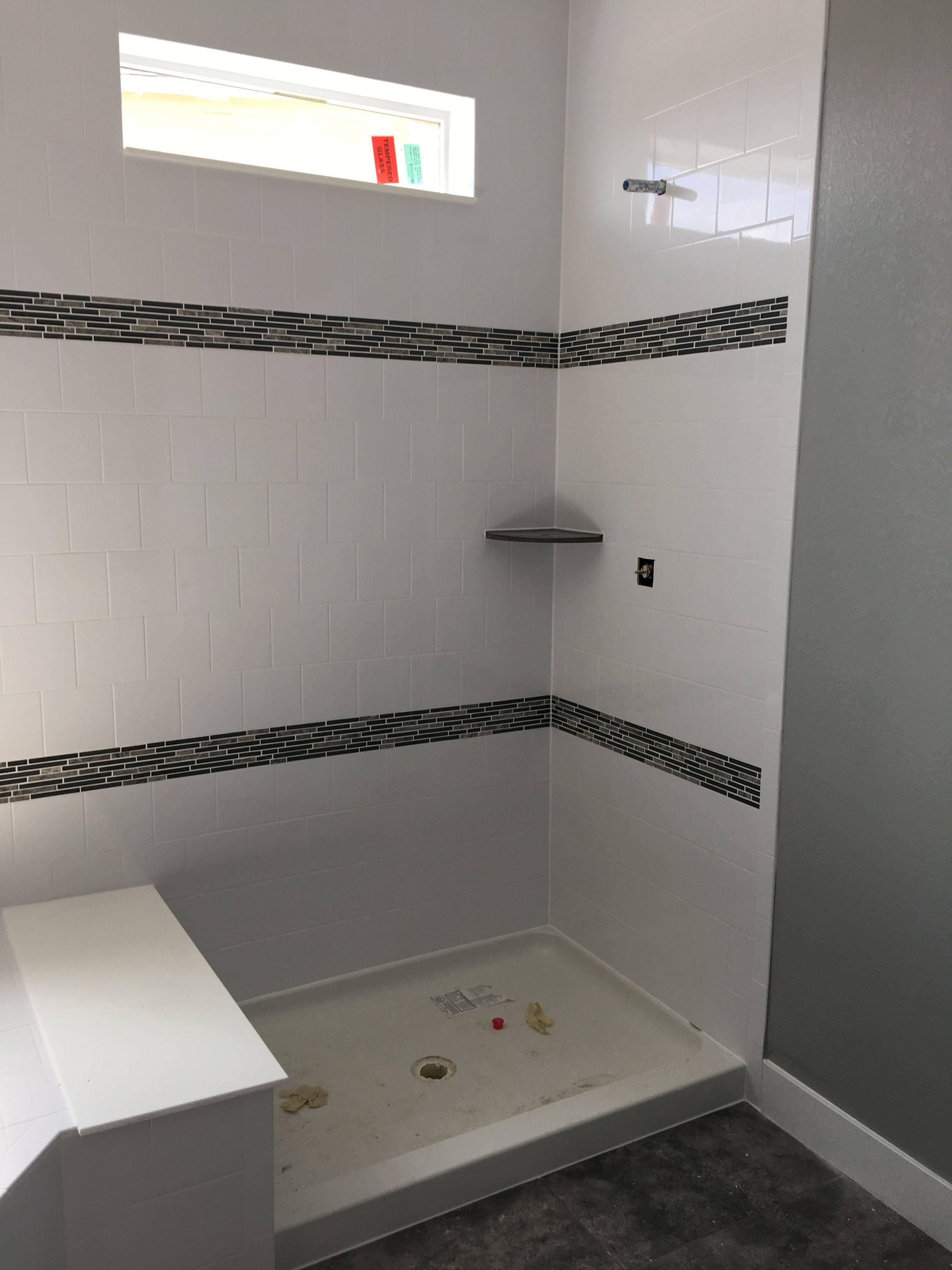 6x6 White Tile Brickset With 2 4 Rows Of Mosaic Master Bathroom Bath Inspiration White Tiles