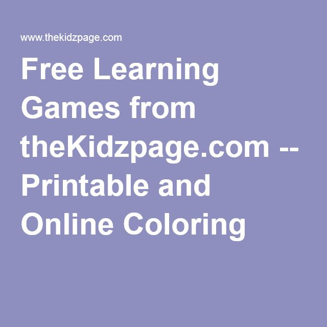 Free Learning Games from theKidzpage.com -- Printable and Online Coloring