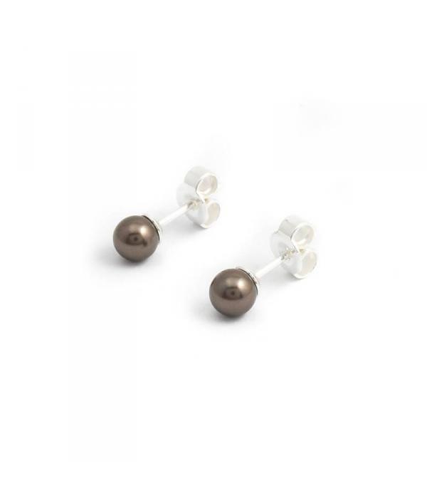 Krikor Brown pearl pareloorknopjes met 5 mm Swarovski pareltje
