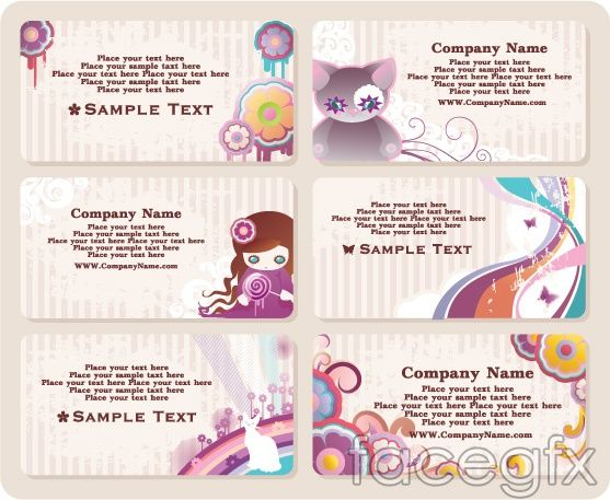 Rainbow Cute Business Card Templates Line Card Vector Cute Business Cards Business Card Template Card Template