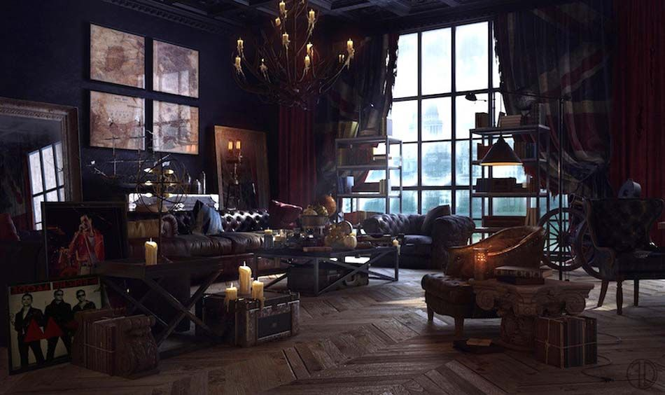 un int rieur de maison la tendance r tro dans l esprit d co steampunk s jour salle. Black Bedroom Furniture Sets. Home Design Ideas