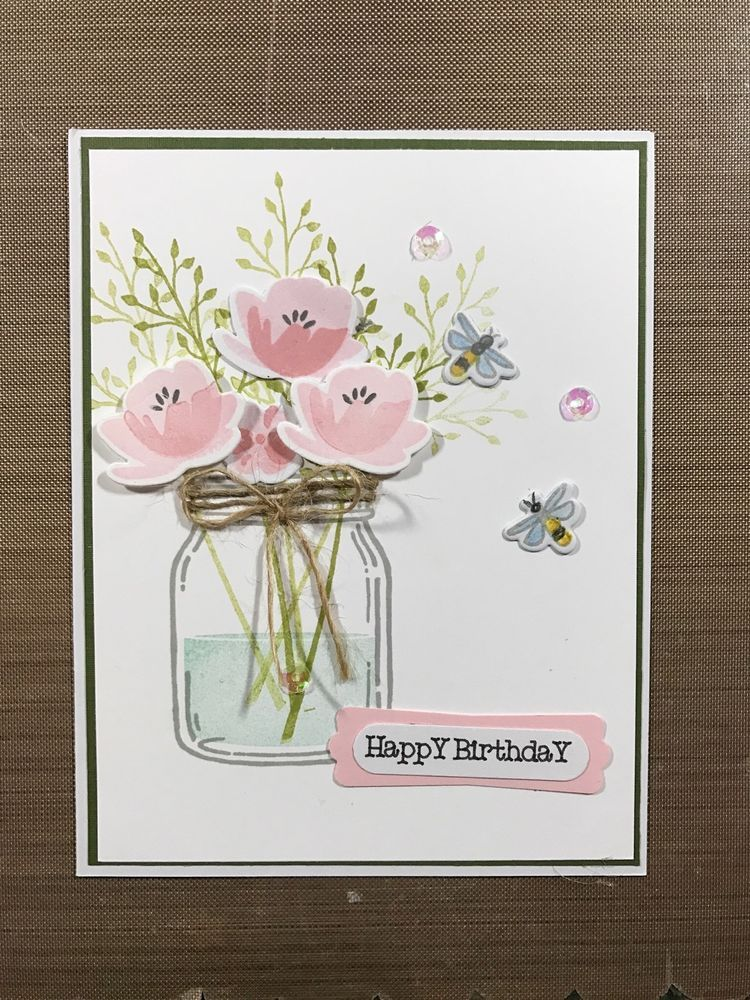 Stampin Up Mason Jar Card Kit Of 4 Happy Moms Day Get Well Sympathy More
