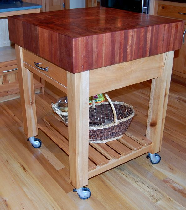 This Rolling Chop Block Island Uses Reclaimed Jarrah End