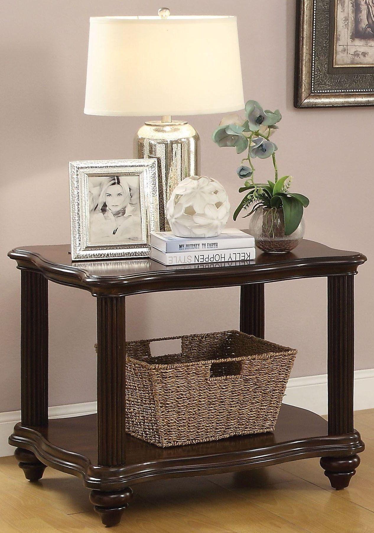 wooden end table with lower shelf dark walnut brown