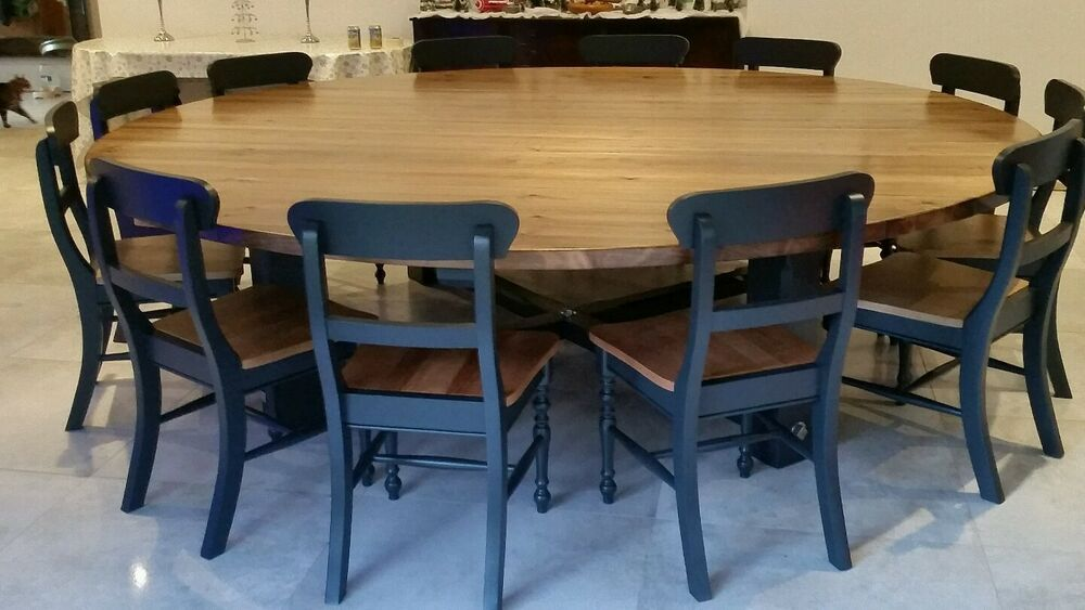 16 Seater Very Large Round Dining Table Chunky Blackened Oak