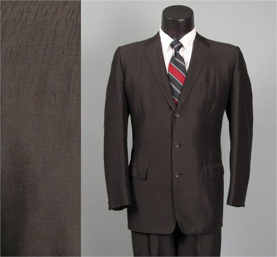 Very Cool Textured Pattern To This One Vintage Mens Suit 1950s ROCKABILLY Shiny Black By