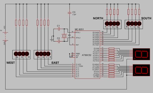 Way Traffic Light Control System Circuit Diagram Using At89c52