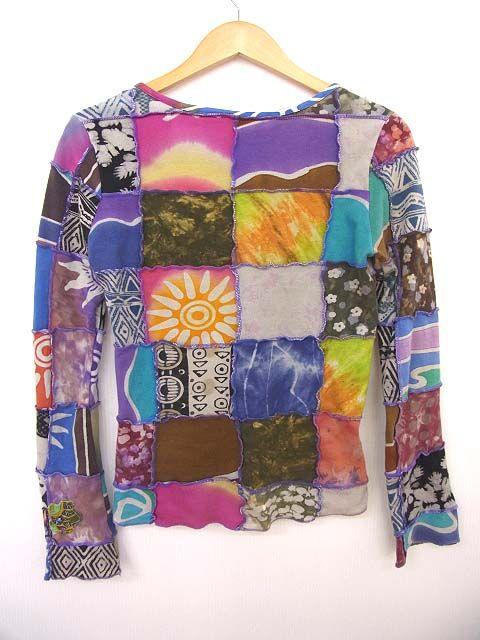 1543c1435570e エルロデオ EL RODEO パッチワーク Tシャツ 総柄 タイダイ 長袖 カットソー トップス  中古