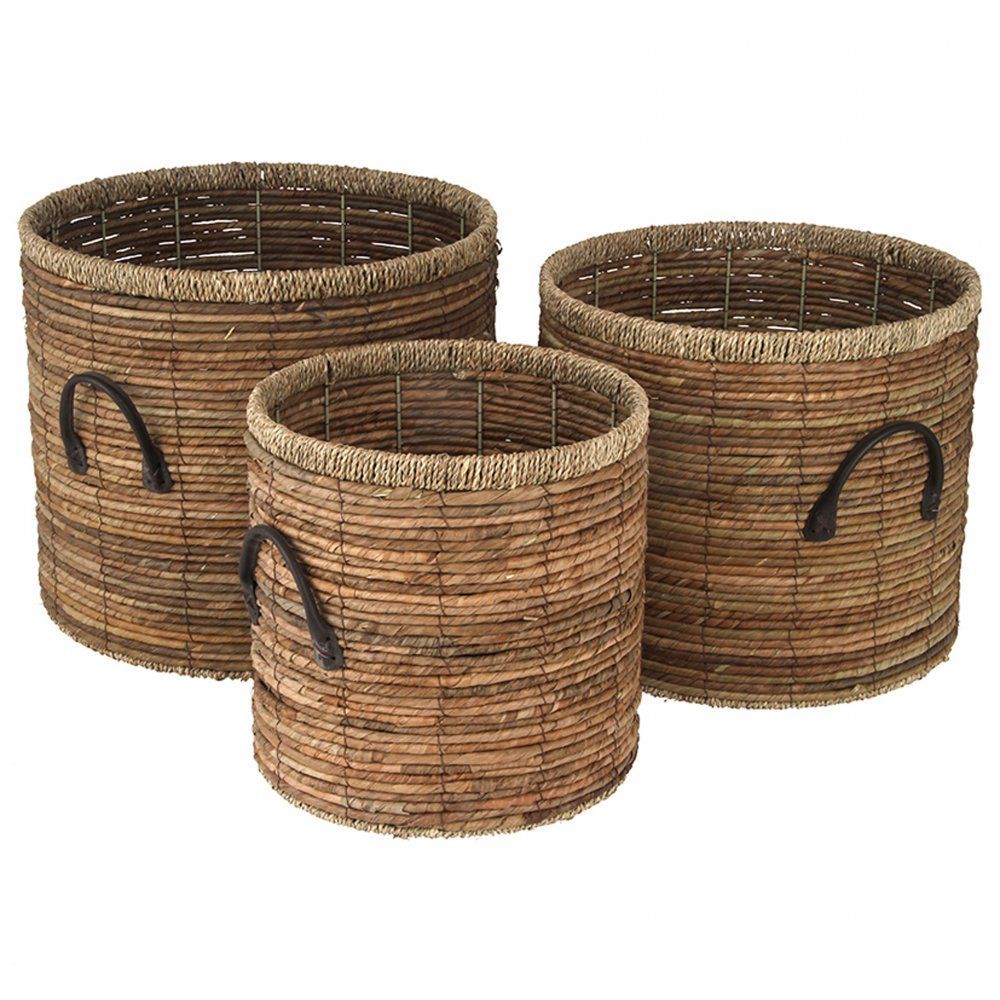 Wicker storage basket home storage baskets melbury rectangular wicker - Natural Brown Banana Leaf Seagrass Round Storage Baskets Log Baskets