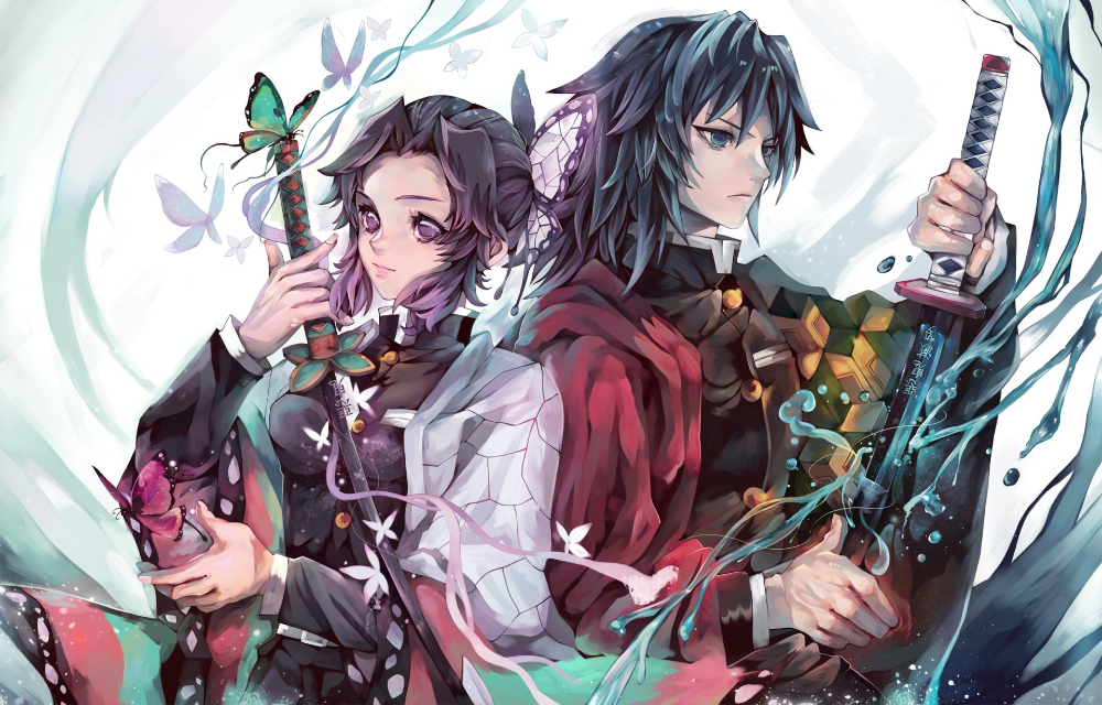 Anime Demon Slayer Kimetsu No Yaiba Giyuu Tomioka Shinobu Kochou Wallpaper đang Yeu Anime Nhan Ma