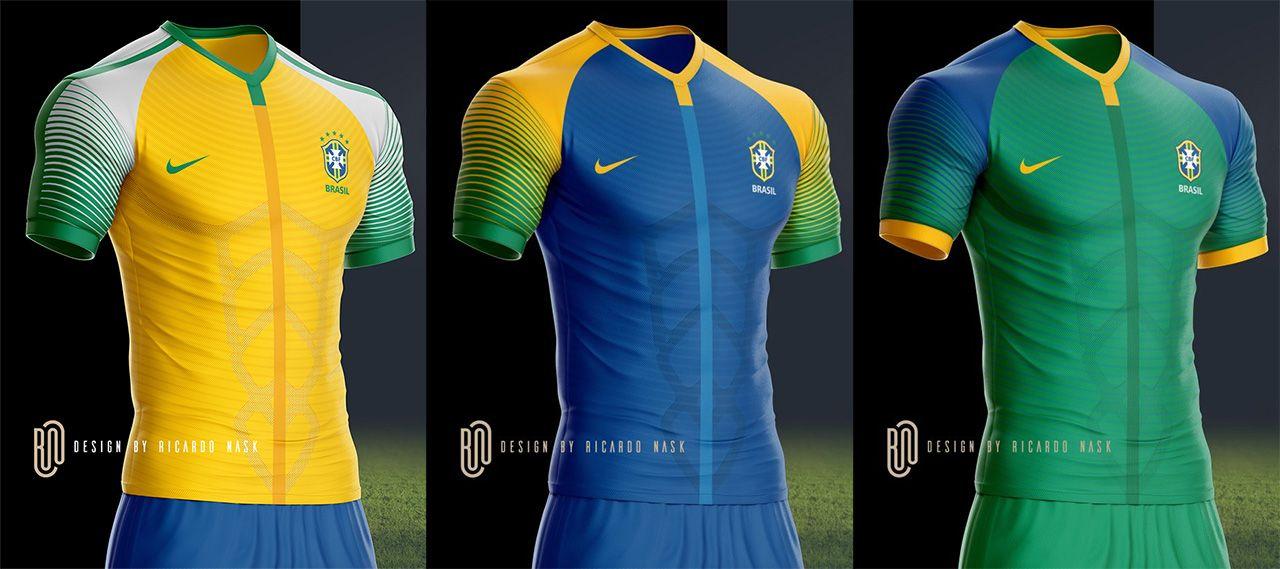 As camisas da Seleção Brasileira deveriam ser mais ousadas  Nosso leitor  Ricardo Nask imaginou como 0f2a463526342